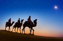 Three Wise Men Desert Dark Sky...