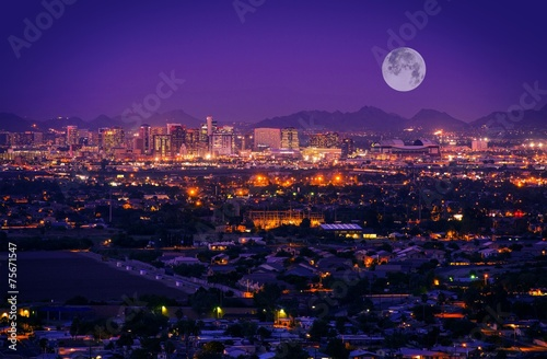 Photo sur Toile Prune Phoenix Arizona Skyline
