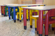 refectory of the kindergarten with small benches and small color
