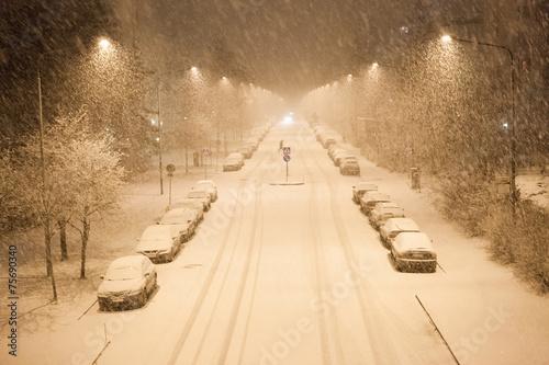 Stampa su Tela Lots of snowfall and empty road