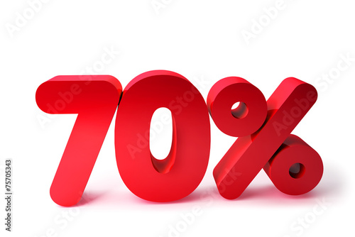 Photographie  70% 3D Render Red Word Isolated in White Background7