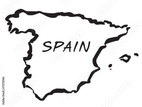 Map Of Spain Drawing.Vecto Balck Drawing Map Of Spain Buy This Stock Vector And Explore