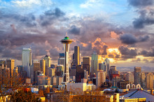 Seattle Skyline At Sunset, WA,...