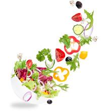 Fresh Salad With Flying Vegeta...
