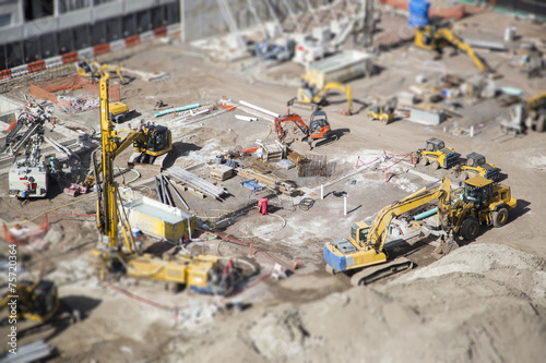 Fotografie, Obraz  Aerial View of Construction Site with Extreme Bokeh.