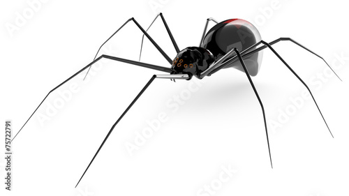 Photo  Black glass spider isolated on a white background.