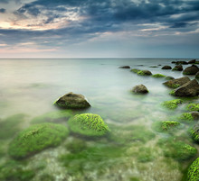 Rocky Beach Seascape At Sunrise