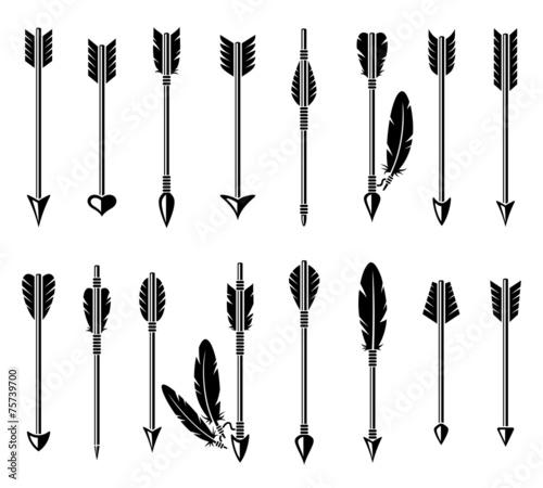 Canvas Print Bow arrow set. Vector