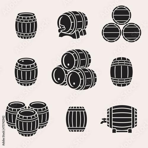 Barrels set. Vector Wallpaper Mural