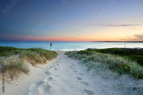 Foto op Canvas Australië Sandy beach trail at dusk sundown Australia