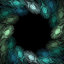 Vector Frame With Peacock Feathers And Place For Text.  Can Be U