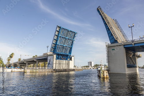 View of the Fort Lauderdale Intracoastal Waterway with a drawbri Wallpaper Mural