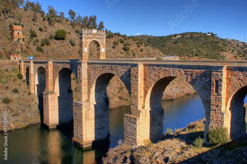 Poster Artistique Roman bridge of Alcantara in Spain