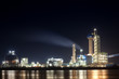 panorama of Oil refinery with reflection, petrochemical plant
