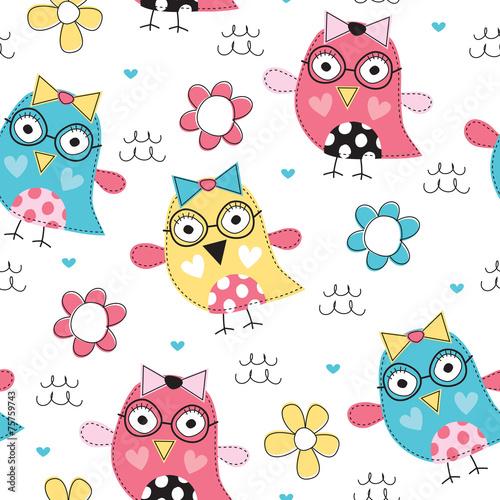 Poster Vogels, bijen colorful owl pattern vector illustration