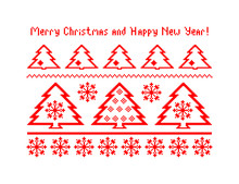 Postcard. Russian Pattern (embroidery 6) Merry Christmas