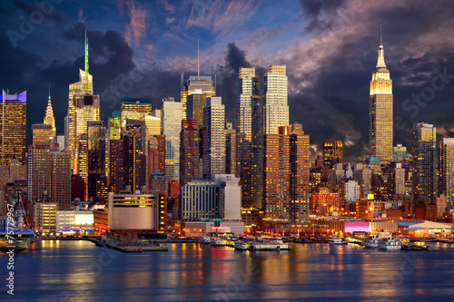 Plakat Manhattan Midtown skyline at twilight, New York