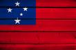 Samoa Flag on wood background