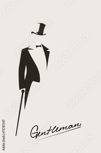 Fotomural silhouette of a gentleman in a tuxedo
