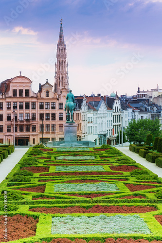 Poster Brussel Beautiful Mont des Arts Garden and Brussels view