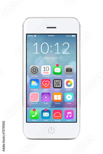 White modern smartphone with application icons on the screen