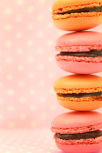 Traditional French Colorful Macaroons On Pink Retro Background