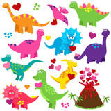 Fototapeta Dinusie - Vector Set of Valentine's Day or Love Themed Dinosaurs