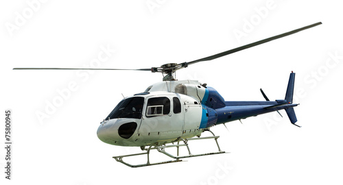 Tuinposter Helicopter White helicopter with working propeller