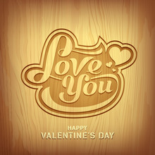 Wood Carving Text Love You For Valentine Day