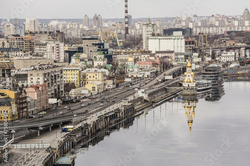 Foto op Canvas Stad aan het water Kiev, the embankment on the Dnieper River