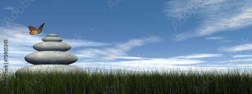 Deurstickers Stenen in het Zand Butterfly peace - 3D render