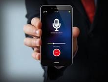 Businessman With Sound Recorder Smartphone