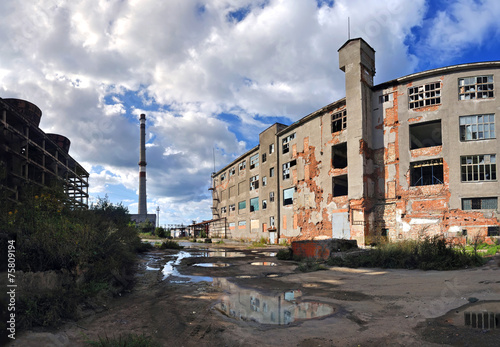 Photo Stands Old abandoned buildings factory ruins