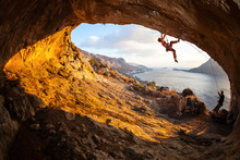 Young Woman Lead Climbing In C...