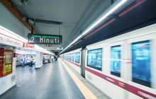 ROME - MAY 17, 2014: Tourists Walk In City Subway Station. More