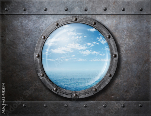Tuinposter Schip old ship rusty porthole or window with sea and horizon behind