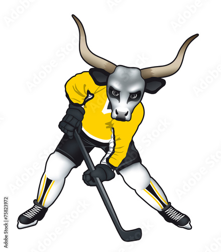 Vector illustration of a bull mascot for ice hockey team Canvas Print
