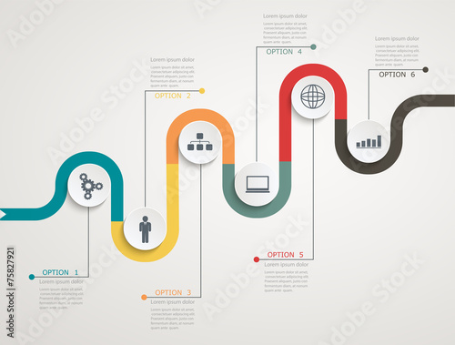 Photo  Road infographic timeline with icons, stepwise structure