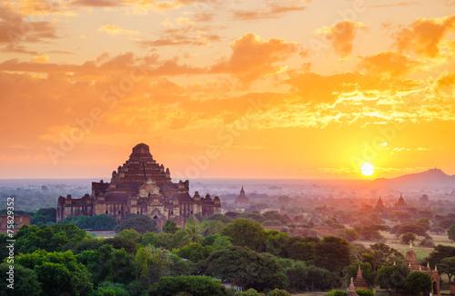 The Temples of Bagan at sunrise, Bagan, Myanmar Wallpaper Mural