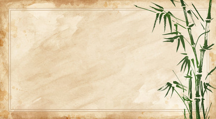 bamboo painted on textural grunge  horizontal background.