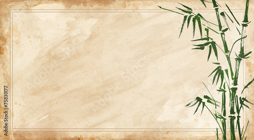 Photo bamboo painted on textural grunge  horizontal background.