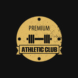 Round athletic club scratched emblem vector illustration, eps10