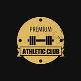 Round athletic club scratched emblem vector illustration, eps10
