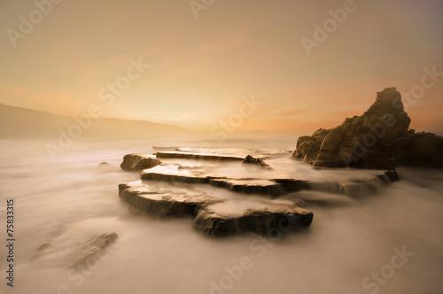 Azkorri beach at sunset