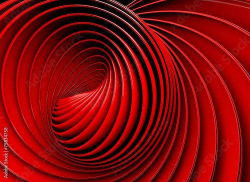 Plakat 3d abstrakta tło Spirala lub zawijas w czerwonym brzmieniu