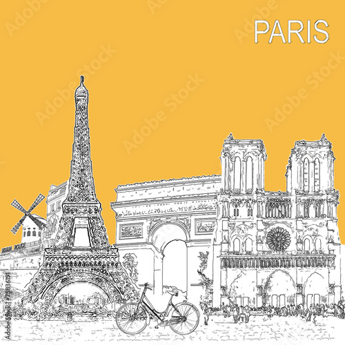 Photo  Sketch style poster with Paris symbols and landmarks.