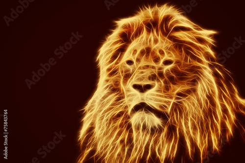 Cuadros en Lienzo , Retrato del león artístico abstracto