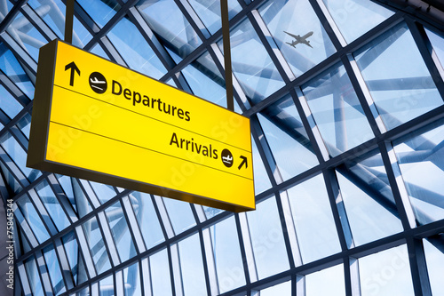 Check in, Airport Departure & Arrival information board sign Canvas Print