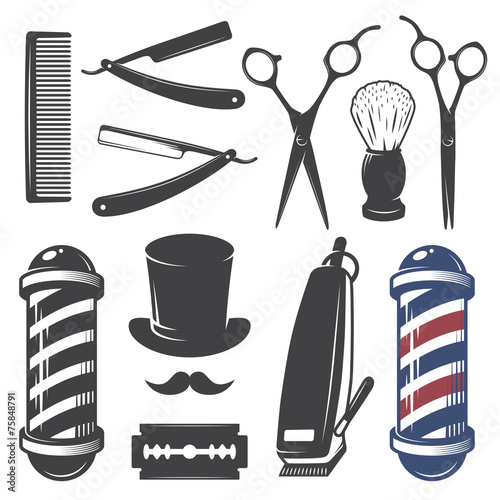Billede på lærred Set of vintage barber shop elements.
