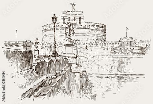 szkic-zamek-swietego-aniola-mauzoleum-hadriana-rzym-wlochy